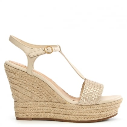 UGG Fitchie II Soft Gold Leather T Bar Sandal