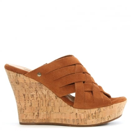 UGG Marta Chestnut Suede Woven Wedge Mule