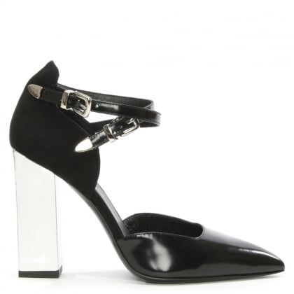 Allyn Claudia Black Leather Buckle Court Shoe