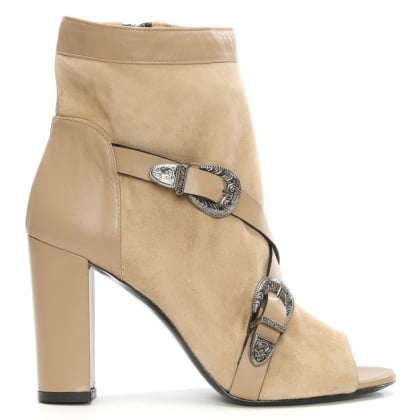Allyn Eva Beige Leather & Suede Peep Toe Ankle Boot