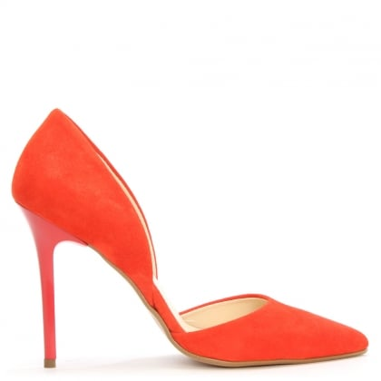 Daniel Nicolette Red Suede Two Part Court Shoe