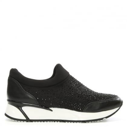 Daniel Pearlblush Black Diamante Slip On Trainer