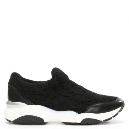 Daniel Powderpuff Black Lace Slip On Trainer