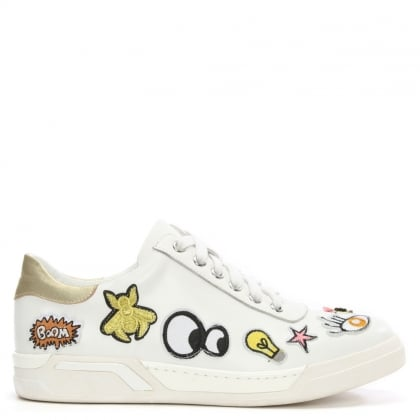 Daniel Peacelily White Leather Patches Lace Up Trainer