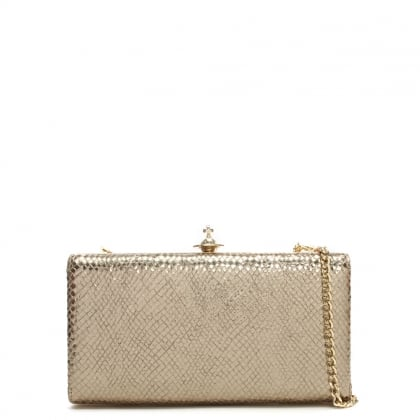 Vivienne Westwood Verona Gold Reptile Leather Box Clutch Bag