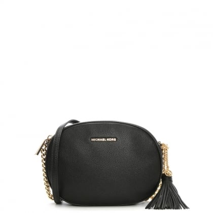 Michael Kors Ginny Medium Black Leather Messenger Bag