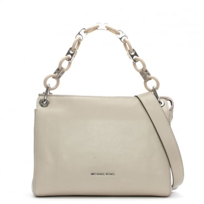 Michael Kors Gianna Medium Cement Leather Link Strap Messenger Bag