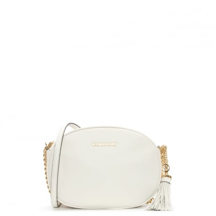 Michael Kors Ginny Medium Optic White Leather Messenger Bag
