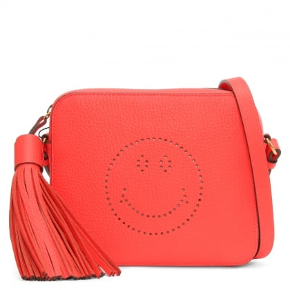 Anya Hindmarch Smiley Neon Coral Tumbled Leather Cross-Body Bag