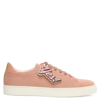 Anya Hindmarch Wink Powder Pink Leather Lace Up Tennis Trainer