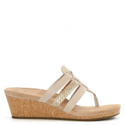 UGG Maddie Horchata Leather Woven Strap Wedge Sandal