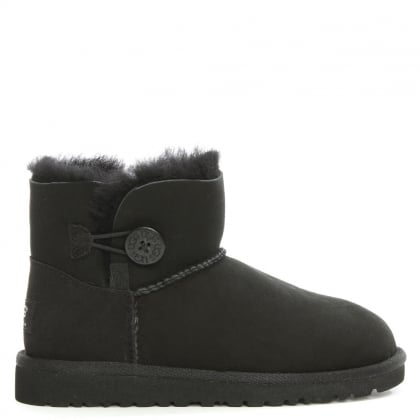 UGG Kid's Mini Bailey Button Black Twinface Boot
