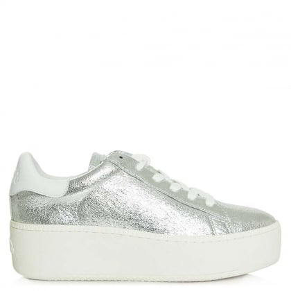Cultash Cracked Silver Leather Chunky Sole Trainer