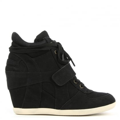 Bowie Washed Black Denim Wedge High Top Trainers