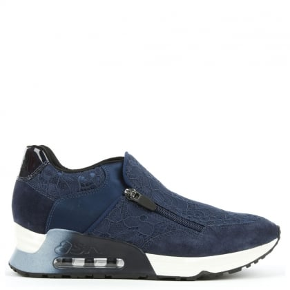 Ash Look Lace Navy Lace & Suede Trainer