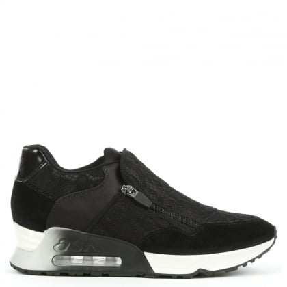 Ash Look Lace Black Lace & Suede Trainer