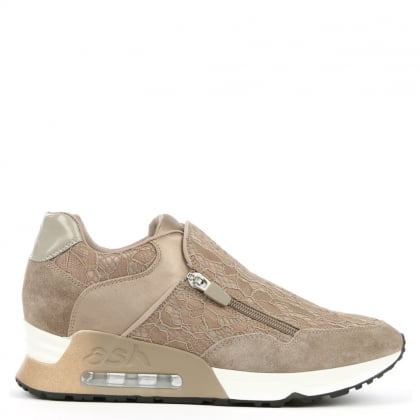 Ash Look Lace Taupe Lace & Suede Trainer