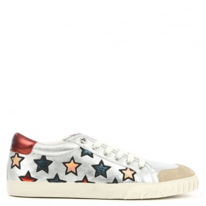 Ash Majestic Silver Leather Star Motif Trainer