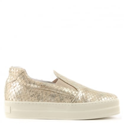 Daniel Freestone Gold Reptile Leather Flatform Trainer