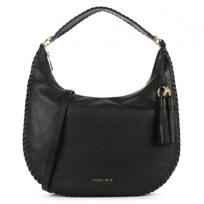 Michael Kors Lauryn Black Leather Large Shoulder Bag