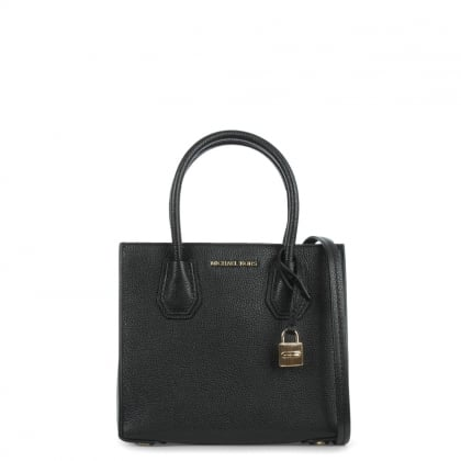 Michael Kors Mercer Medium Black Leather Bonded Tote Bag