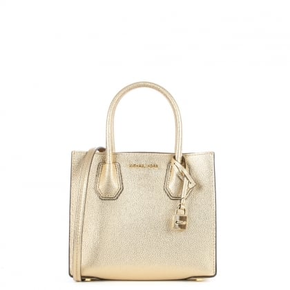 Michael Kors Mercer Medium Pale Gold Leather Messenger Bag