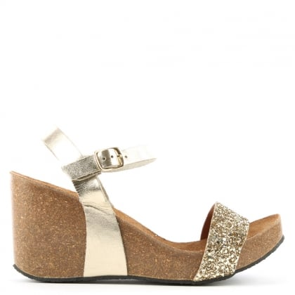 DF By Daniel Ryther Gold Leather Glitter Corked Wedge Sandal