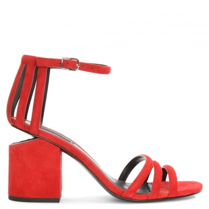Alexander Wang Abby Red Suede Cage Sandal