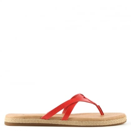 UGG Annice Red Leather Toe Post Flip Flop