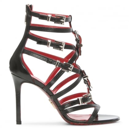 Cesare Paciotti Black Leather Gladiator Sandal