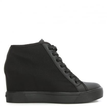 DKNY Cindy Black Mesh Wedge High Top Trainer