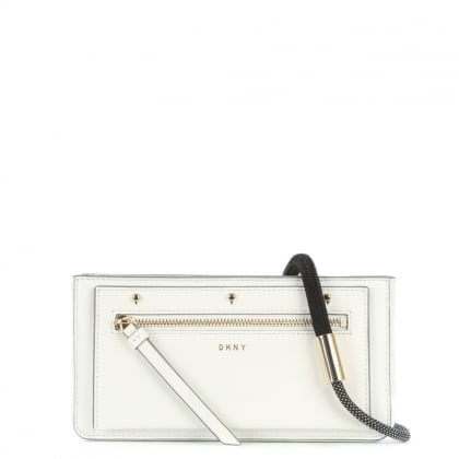 DKNY Nappa White Leather Bungee Strap Small Cross-Body Bag