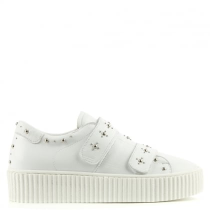 Daniel Studsy White Leather Flatform Trainer