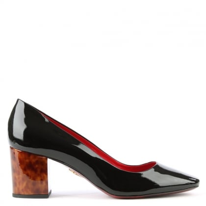 Cesare Paciotti Black Patent Leather Block Heel Court Shoe