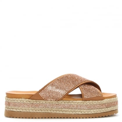 Daniel Rosebay Tan Crystal Embellished Cross Strap Mule