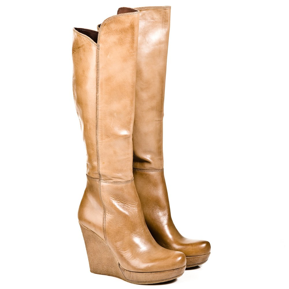 daniel beige wisdom womens knee high wedge boot