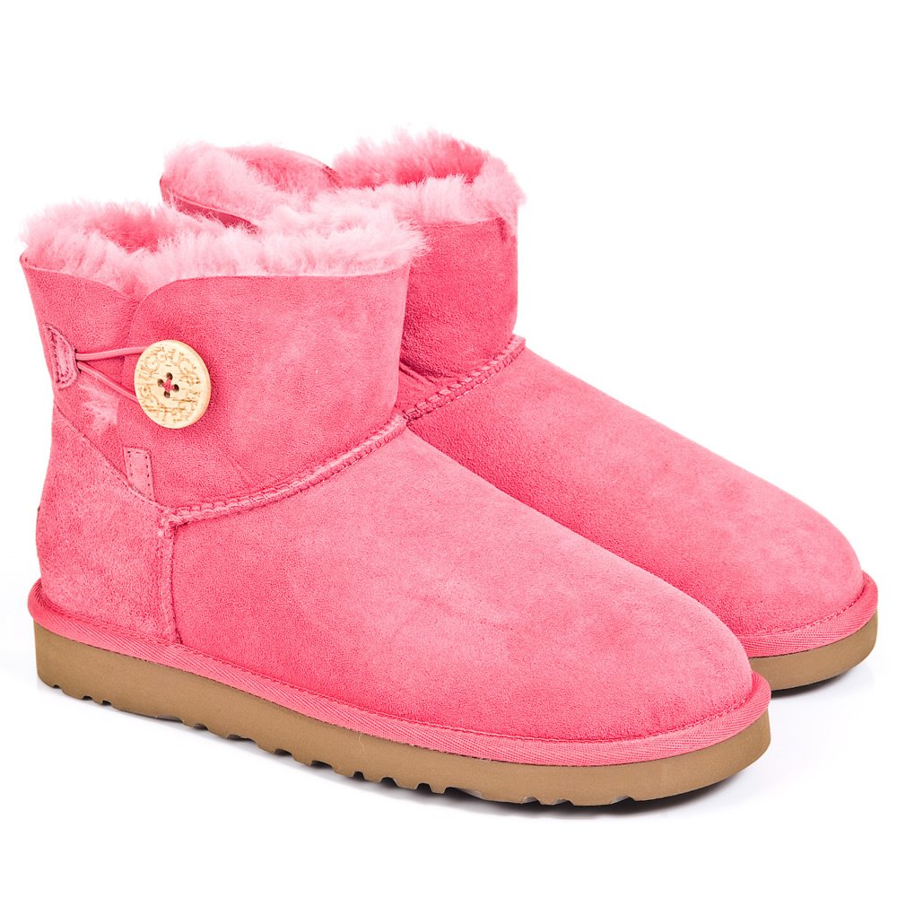 ugg pink mini bailey button women s boot. Black Bedroom Furniture Sets. Home Design Ideas