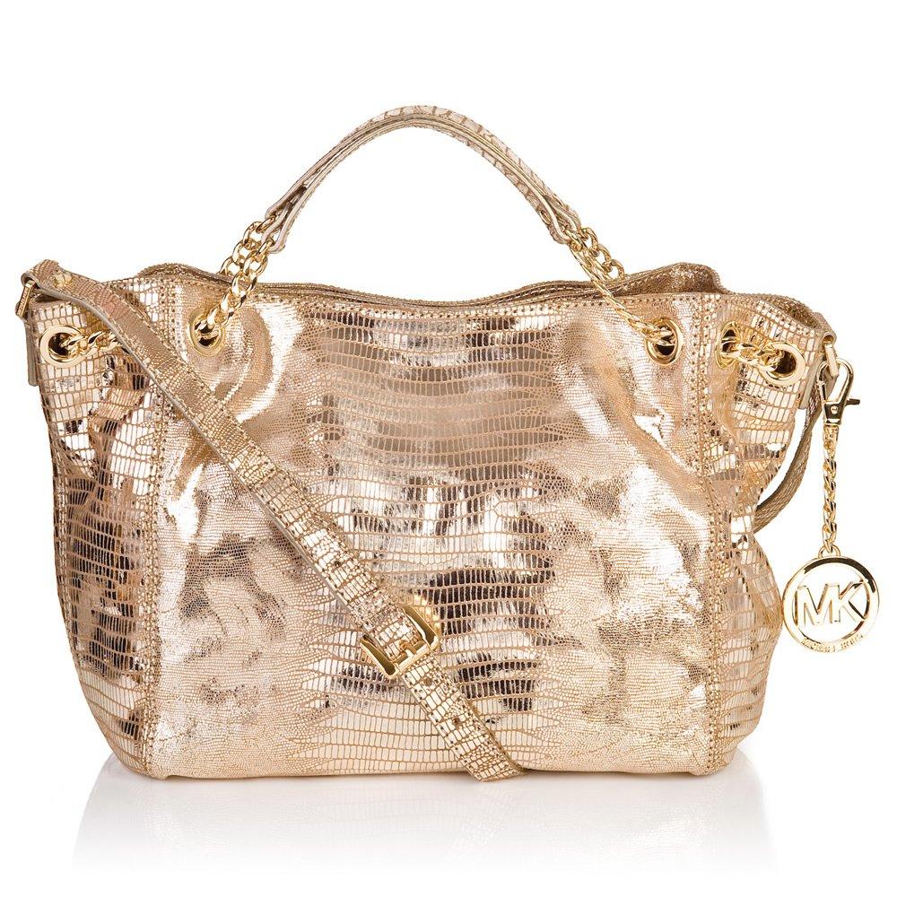 michael kors jet set chain gold metalic womens tote bag
