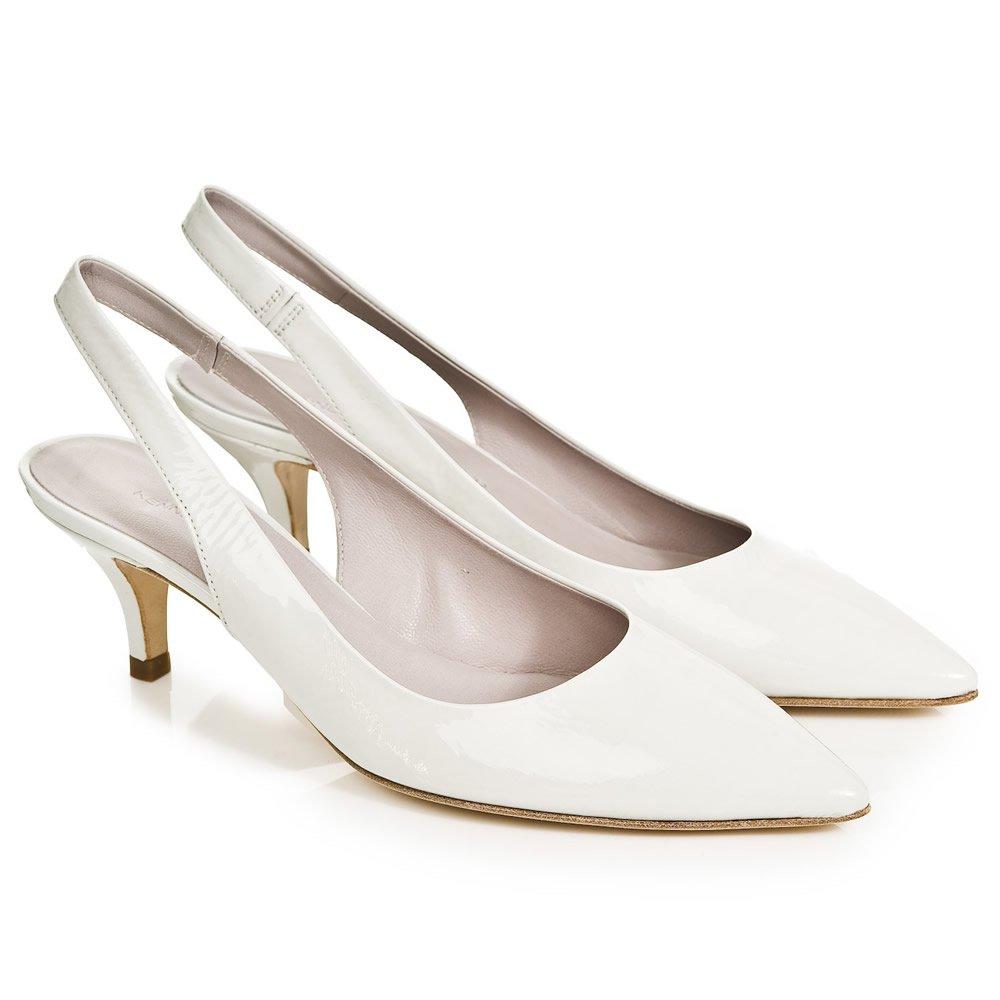 White Mid Heels - Is Heel
