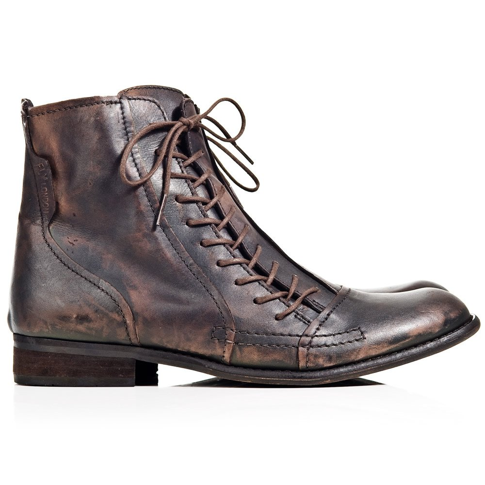 fly wall brown leather mens lace up boot fly