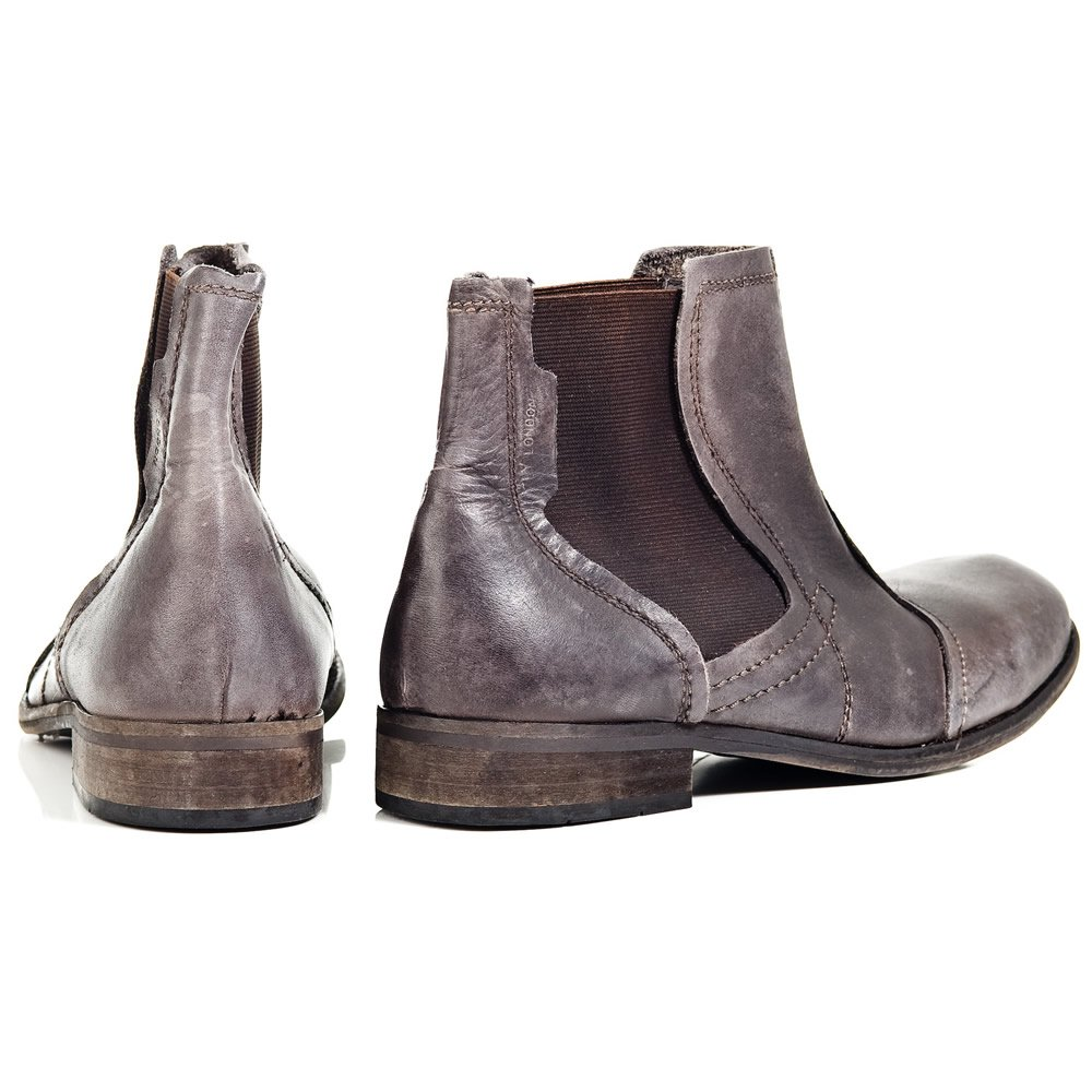 fly warp grey leather mens ankle boot fly