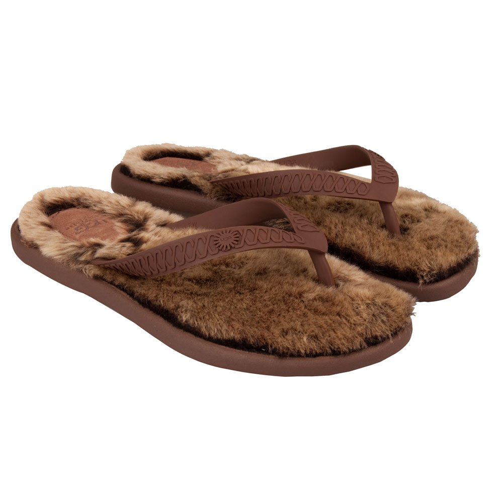 ugg chocolate metallic gold fluffie women s flip flop. Black Bedroom Furniture Sets. Home Design Ideas