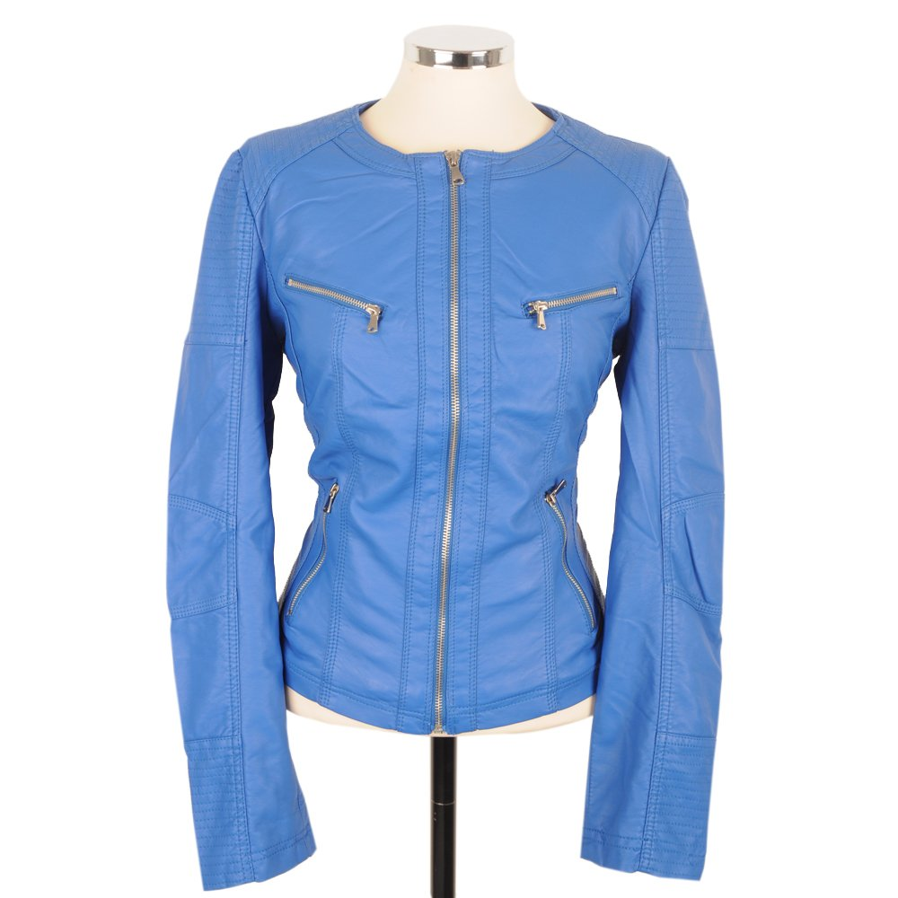 Womens Blue Leather Jacket