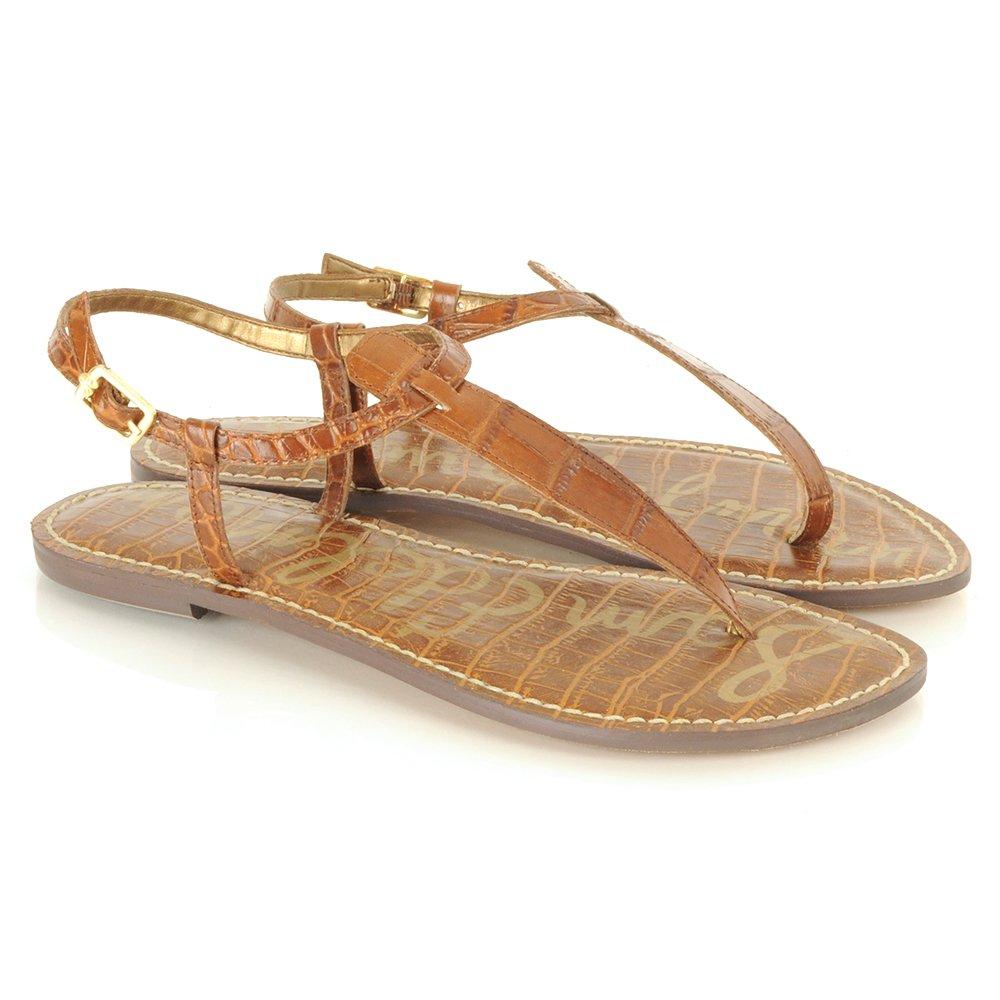Sam Edelman Gigi Tan Reptile Womens Flat Sandal Sam