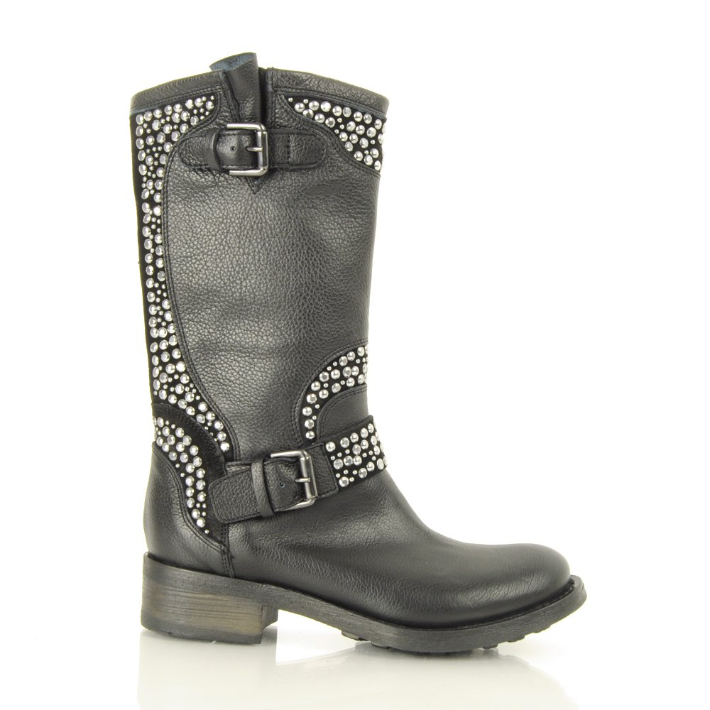 daniel govan women s studded flat biker boot