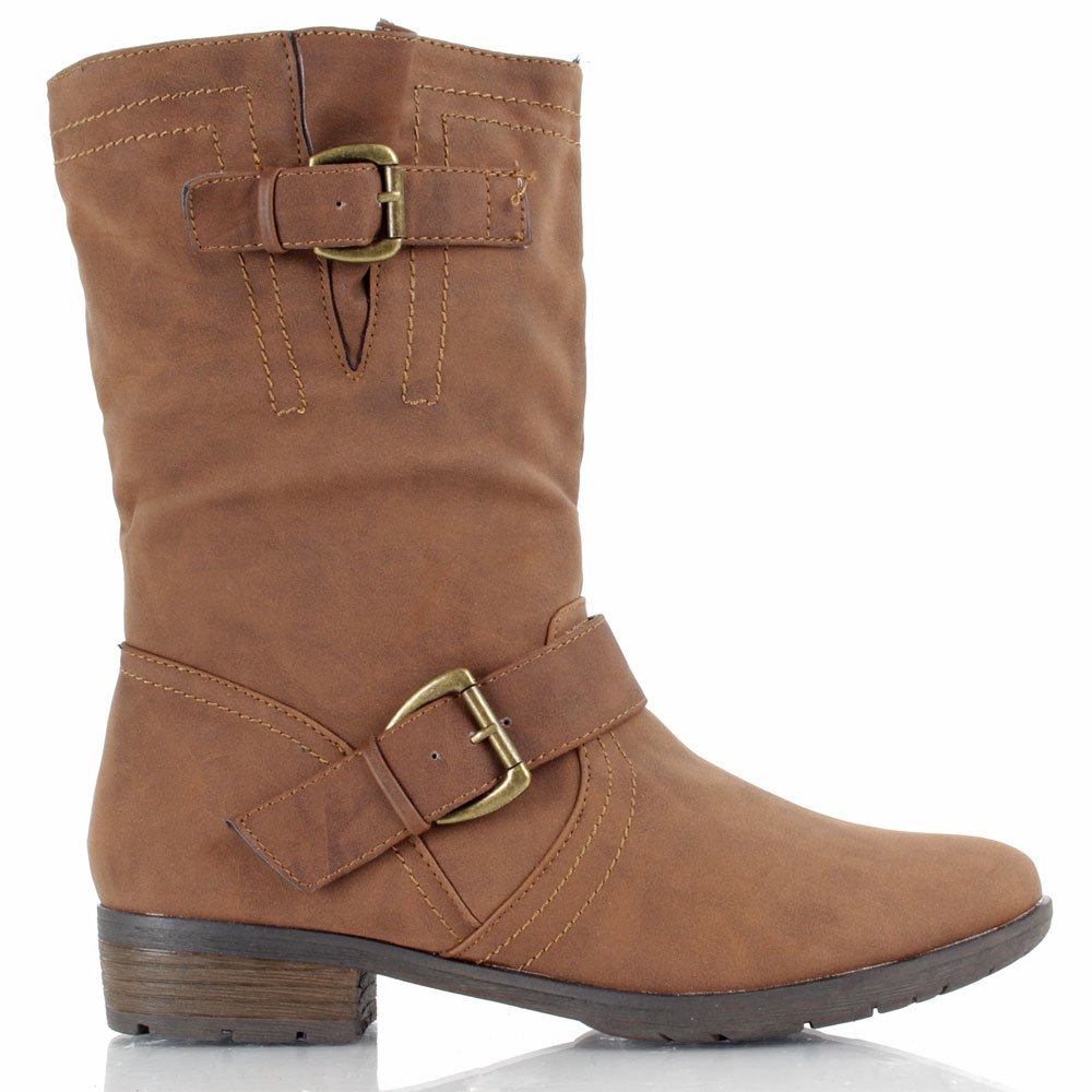 daniel brown felipe women s flat buckle calf boot
