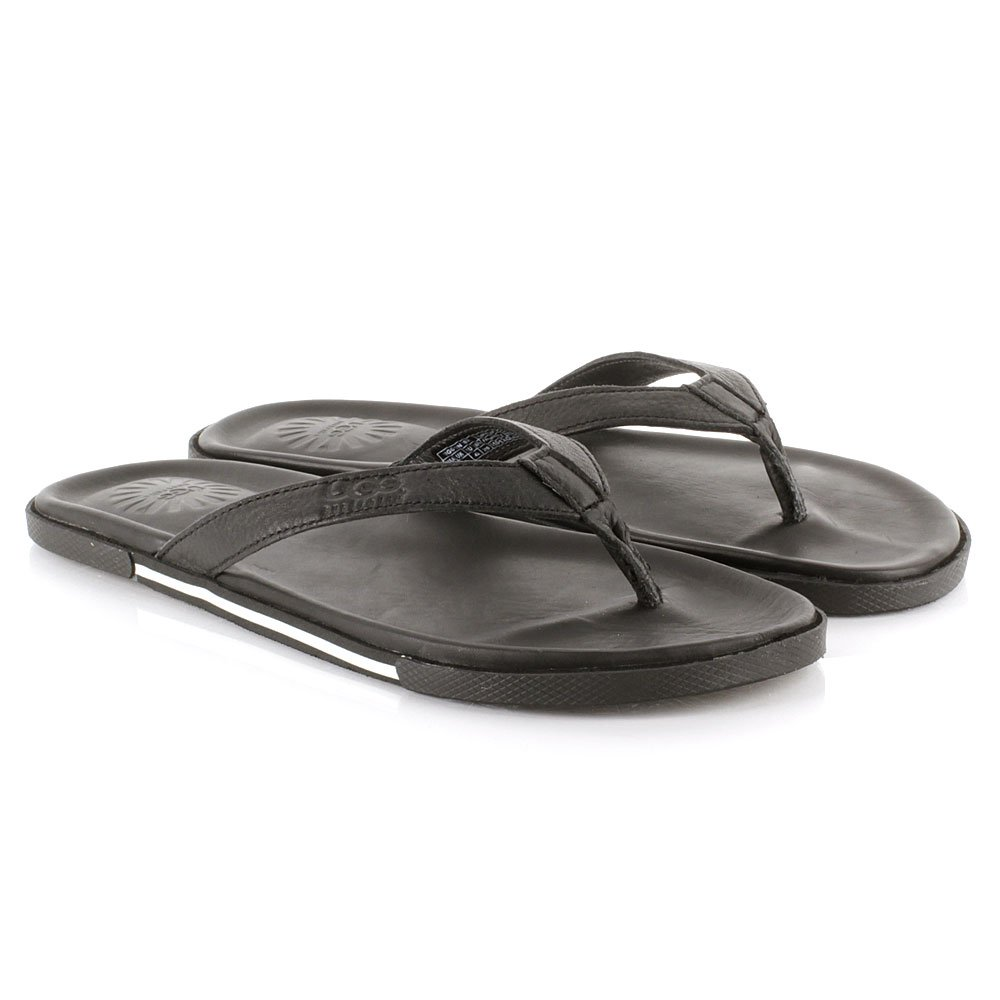 ugg black bennison men s leather flip flop. Black Bedroom Furniture Sets. Home Design Ideas
