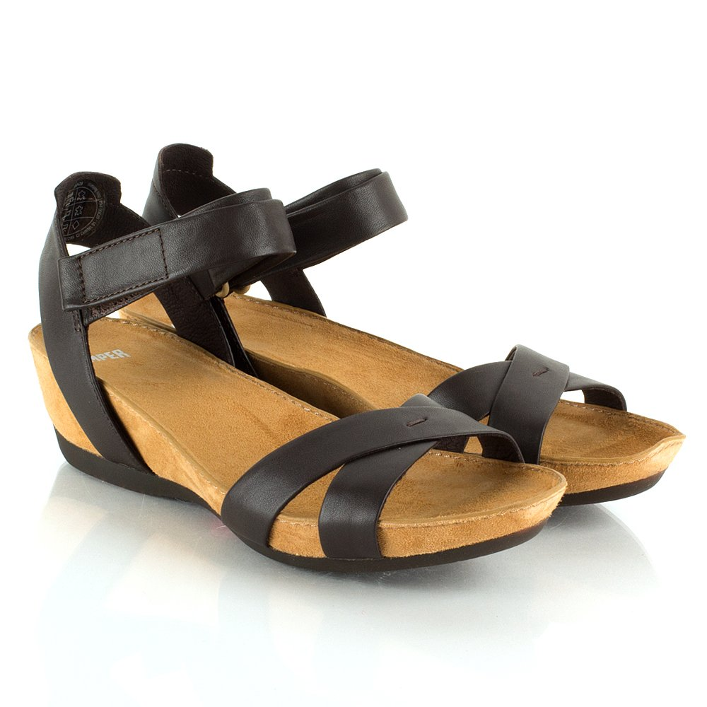 Camper Brown Micro Women S Low Wedge Sandal