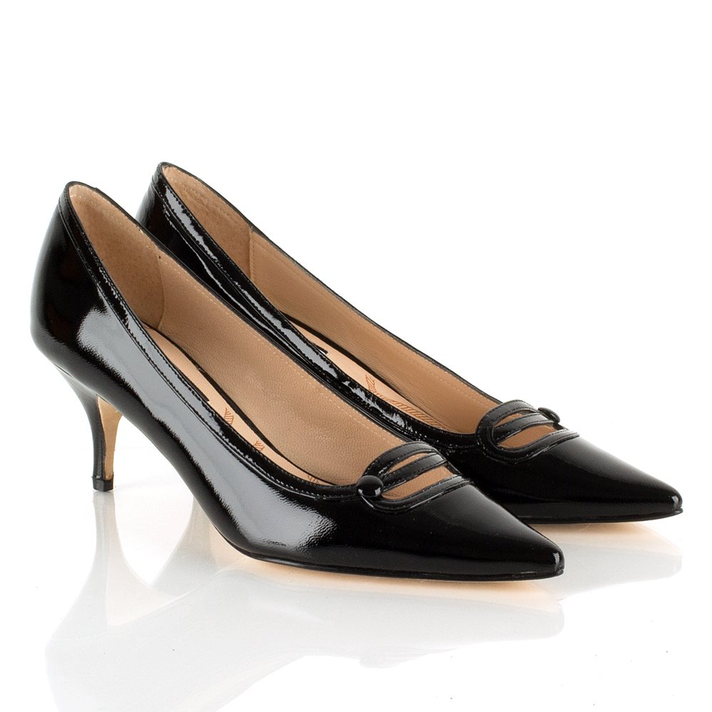 Black Kitten Heel Shoes - Is Heel