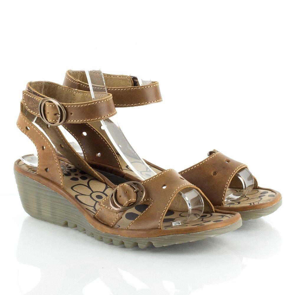 Fly London Oreo Women's Tan Leather Low Wedge Sandal
